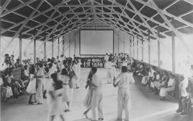 Fordlandia dance hall with movie screen. Building has roof and floor but no sides, ca. 1933.