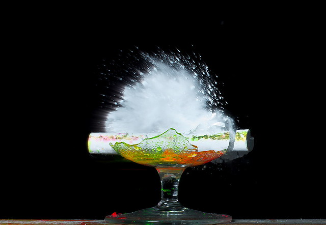 Chalk Explosion Chalk On Broken Glass Shot With 22cal