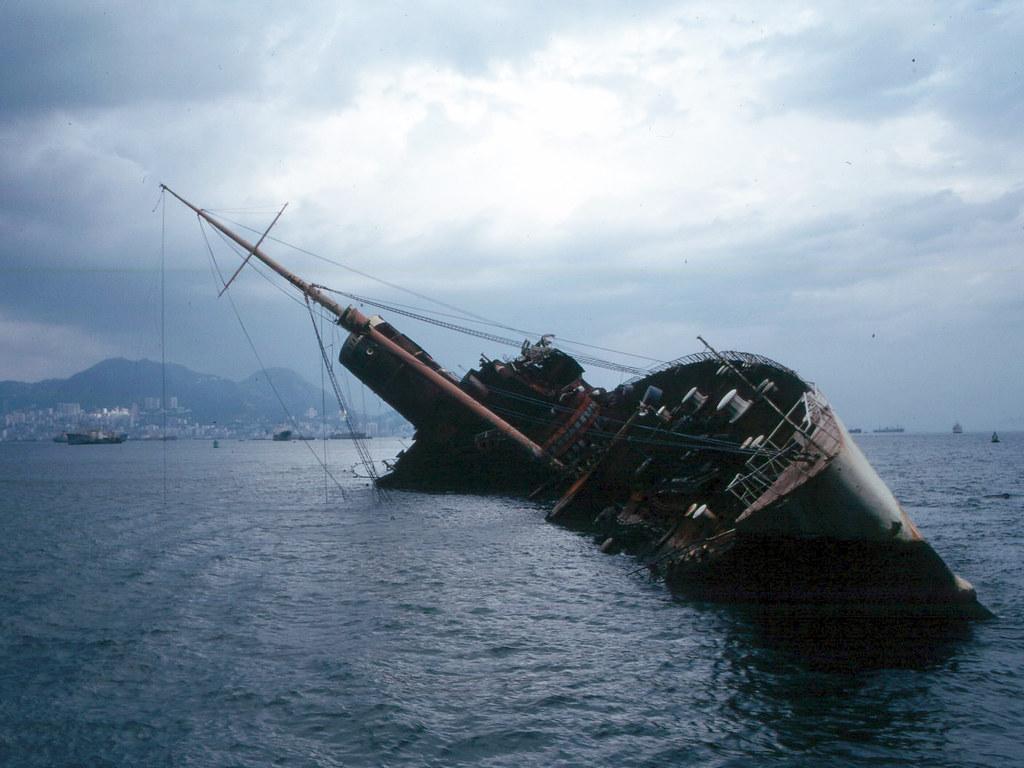 Wreck Of Queen Elizabeth In Hong Kong 1972 From