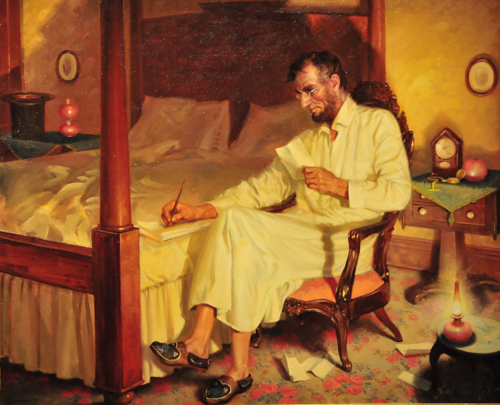 Painting Of President Abraham Lincoln In The Lincoln S Cot