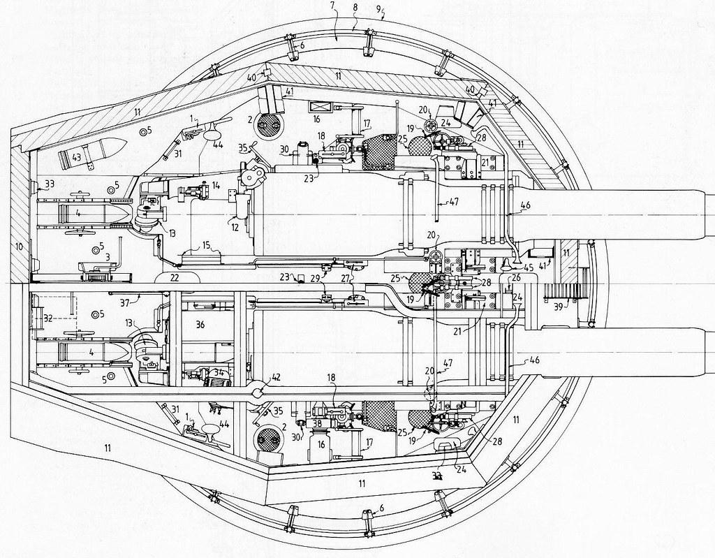 Plan Of British 12 45 Mark X Twin Turret Gunhouse