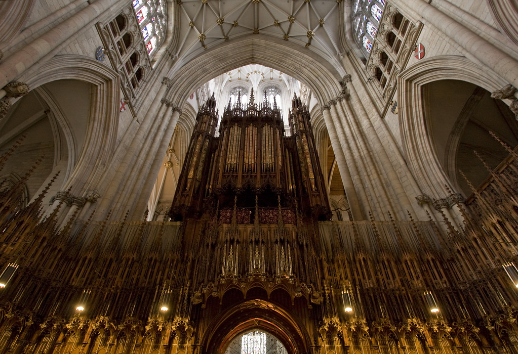 York Minster Organ Wide Angle View Of The Organ From