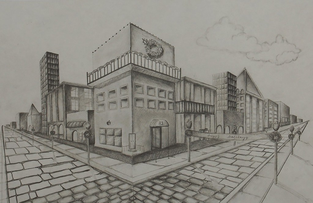 1 Point Perspective City Street