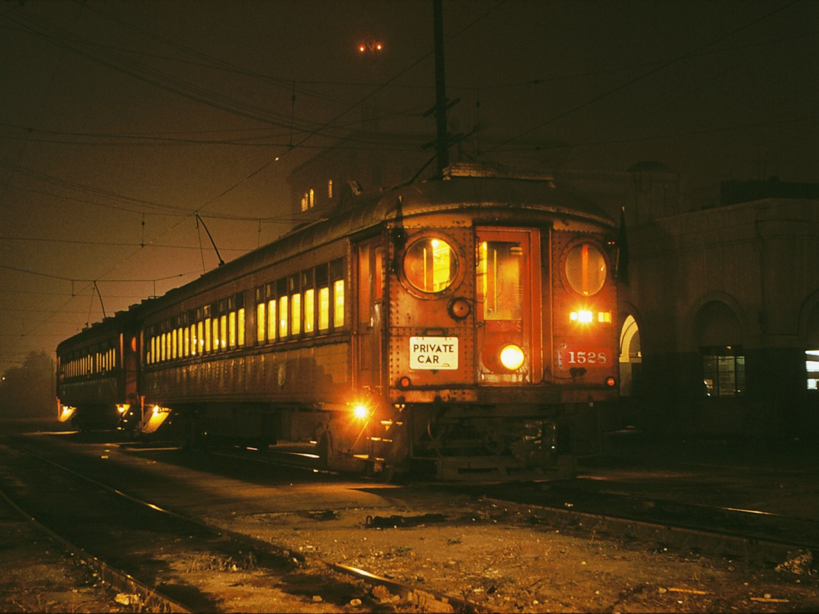Pacific Electric Railway Car 1528 - photograph by Alan Weeks - December 8, 1958