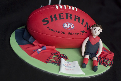 Melbourne Demons Afl Football Cake Carved The Ball From