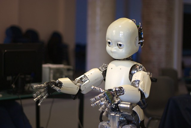 iCub, a child-like humanoid designed by the RobotCub Consortium, taken at VVV 2010