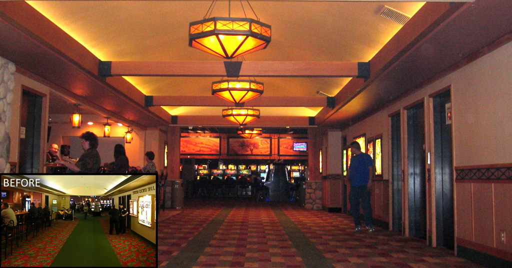 After Casino Corridor Mica Chandeliers Custom Floori