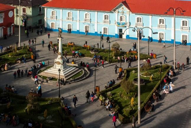 The park Puno City, Puno, Peru