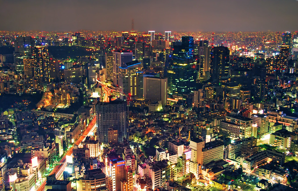 Tokyo At Night Birds Eye View View From The Roppongi