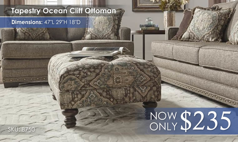 Tapestry Ocean Cliff Ottoman