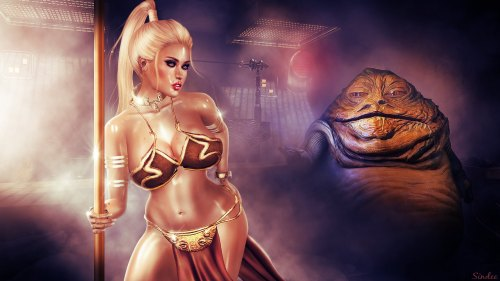 Leia convincing Jabba to get into the stripclub business