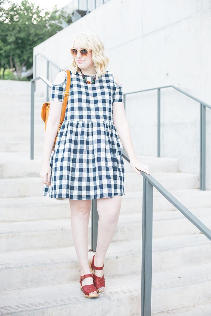 austin fashion blogger writes like a girl asos cold shoulder gingham dress13