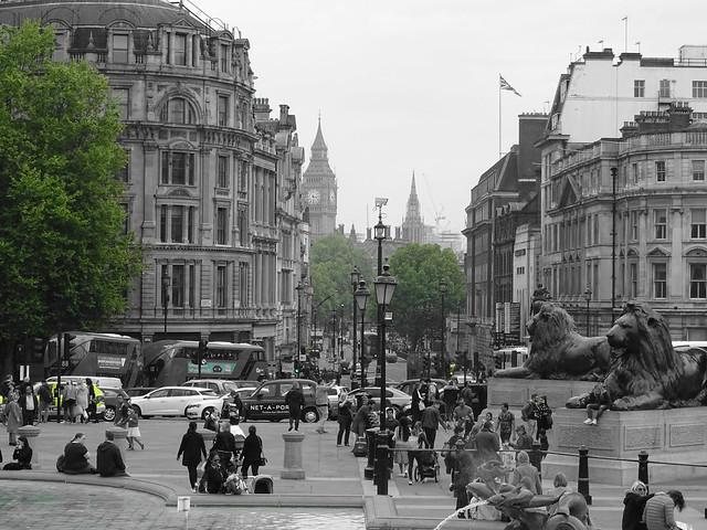 Trafalgar Square - Greenery check - View of Big Ben
