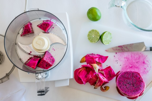 pink pitaya, peeled and prepped to purée