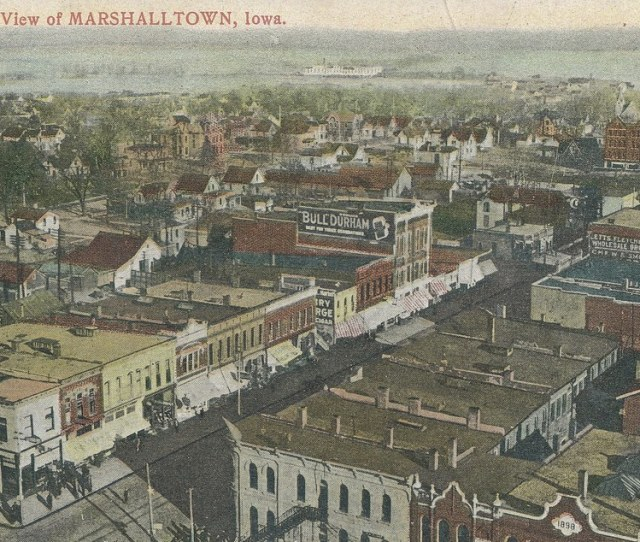 Photolibrarian Marshalltown Iowa Aerial View Business District By Photolibrarian