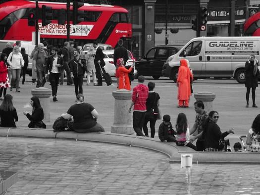 Trafalgar Square - taking pictures is fun