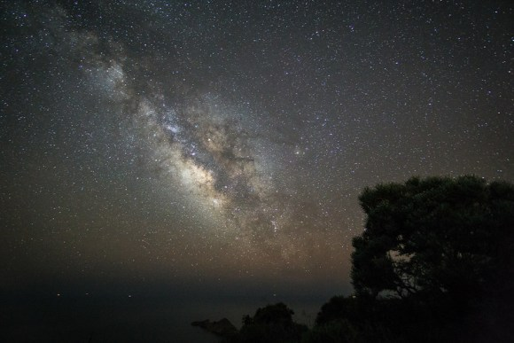 Milky way over a calm mediterranean sea. Constellation Norma is just above the horizon. Sony a 6000 Samyang 12mm f2 30 second