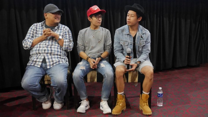 Director Boris Boo, comedian Jeremy Chan, and YouTube star Terence Then (WahBanana) taking questions at the Lucky Boy Blog Aloud session.