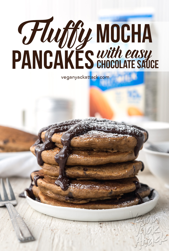 Fluffy Mocha Pancakes with Easy Chocolate Sauce! Perfect for a decadent brunch, plus it has some added protein. #vegan #soyfree