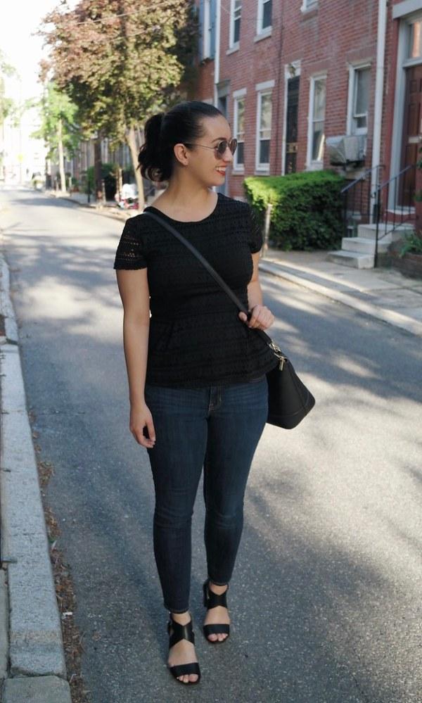 Black Laser Cut Peplum with Jeans