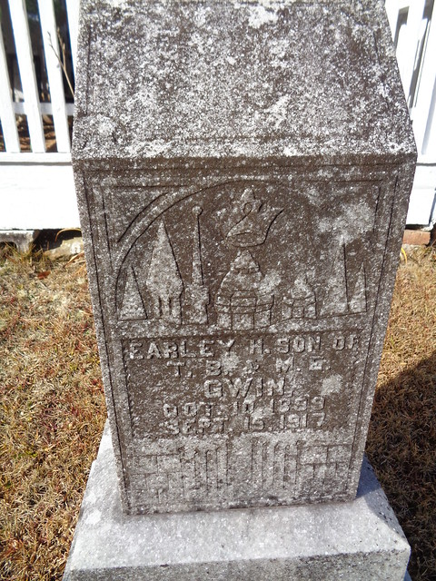 Monument With Nice Scene, Earley H. Gwin, Prudes Creek Baptist Church Cemetery