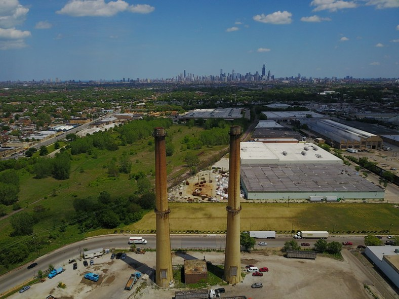 Smokestacks at a former incinerator in Humboldt Park