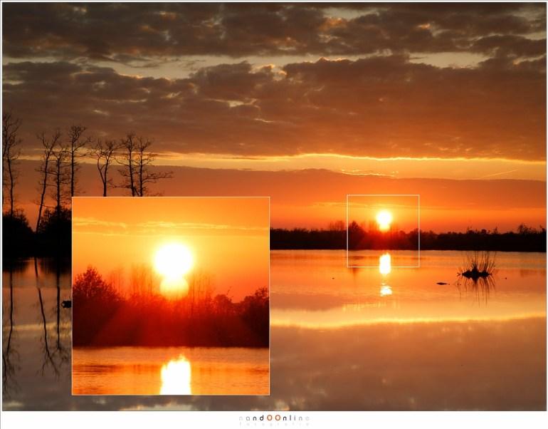 Onbewerkt beeld uit het RAW bestand, met een vergroting van de zon en de zonreflectie