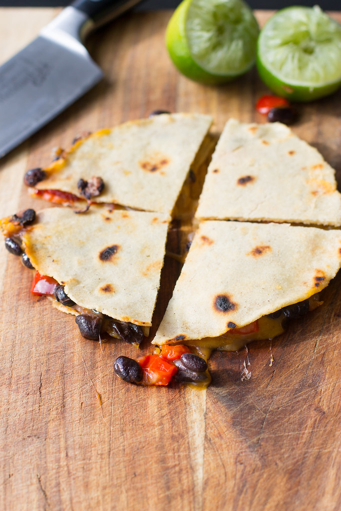 Spicy black bean quesadillas with roasted red pepper.