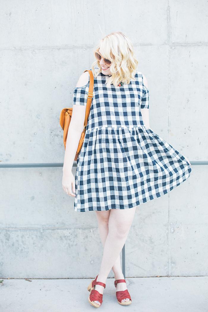 austin fashion blogger writes like a girl asos cold shoulder gingham dress11