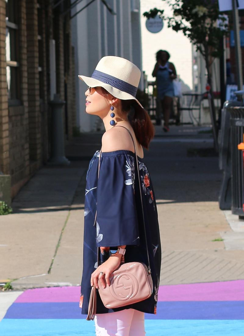 delphine-label-off-shoulder-dress-gucci-bag-hat-austin-earrings-3