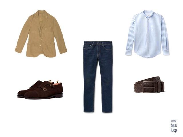 Look para hombre con vaqueros, blazer hombre, camisa azul de rayas, zapatos monk marrones y cinturón