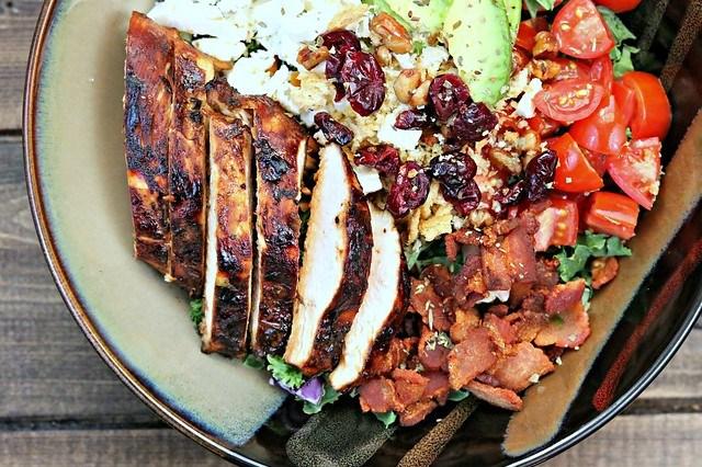 BLT Balsamic Chicken Avocado Feta Salad Top Close