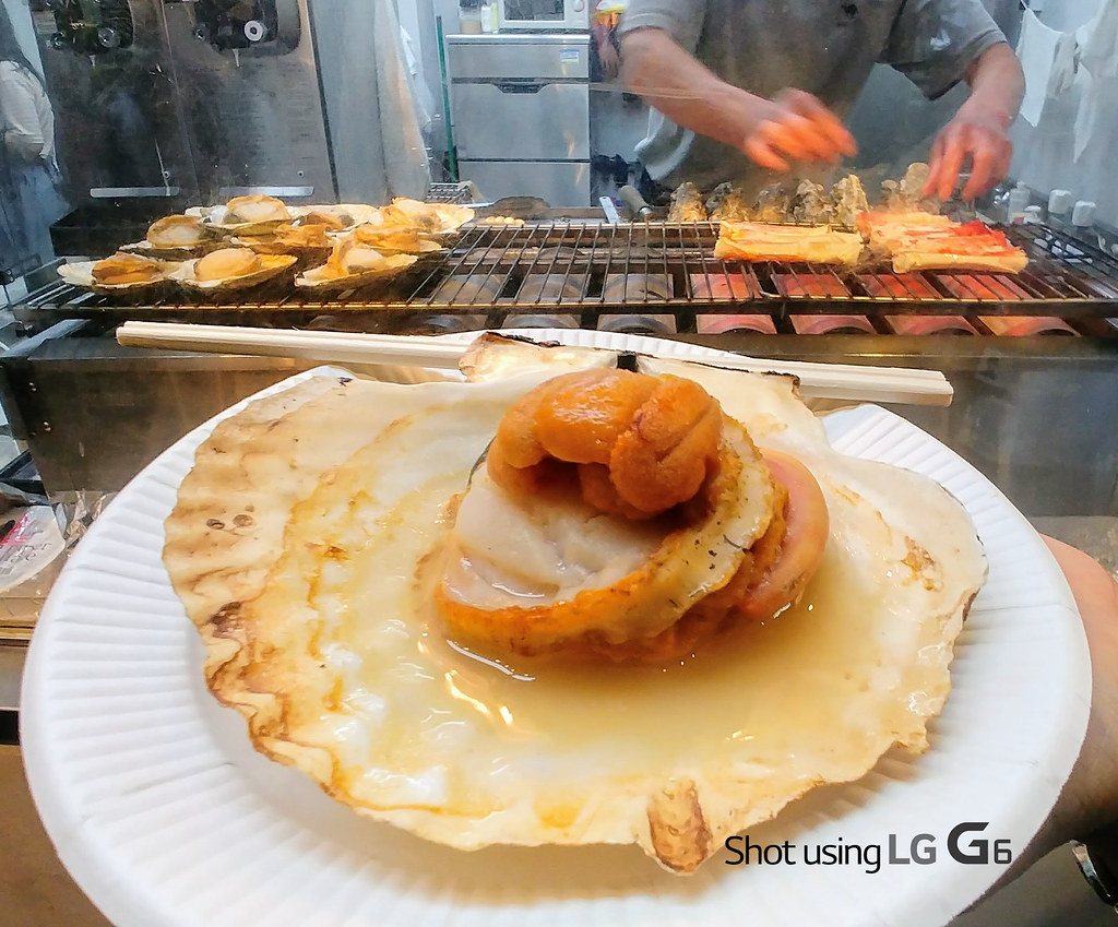Grilled Scallops and Uni - Tsukiji Outer Market