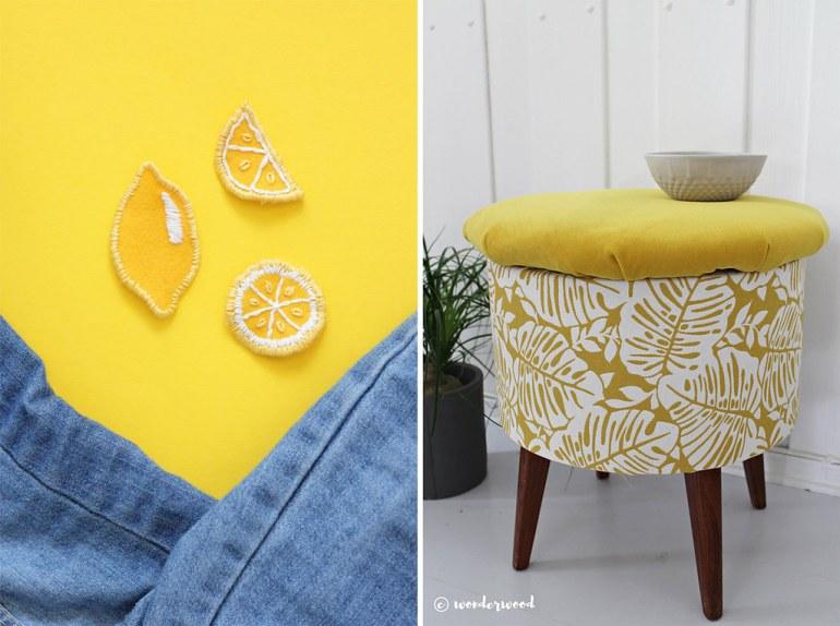 Monthly Makers tyg - citronmärken omklädd pall