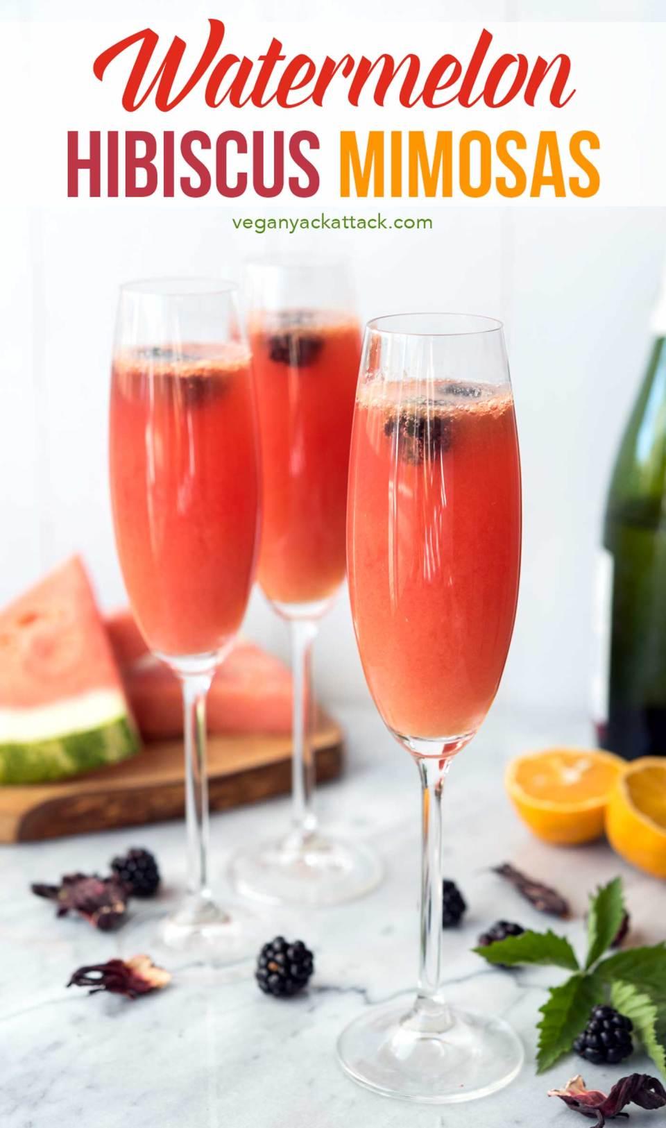 Refreshing watermelon, tart hibiscus tea, OJ and champagne make for the perfect, summer brunch beverage: Watermelon Hibiscus Mimosas! #vegan #allergenfriendly #brunch #drinks