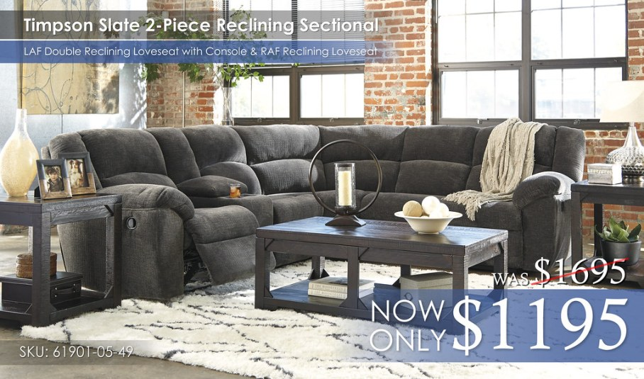 Timpson Slate Reclining Sectional 61901-05-49-T745