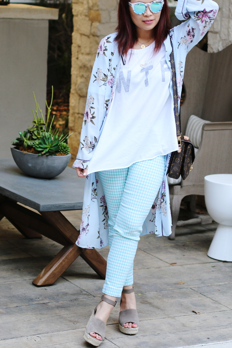 wtf wildfox tee check pants kimono quay blue lens sunglasses