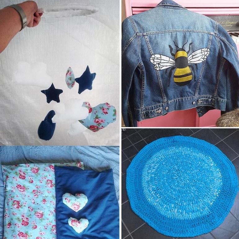 Monthly Makers tyg - babymobil babymadrasser målad jeansjacka virkad matta