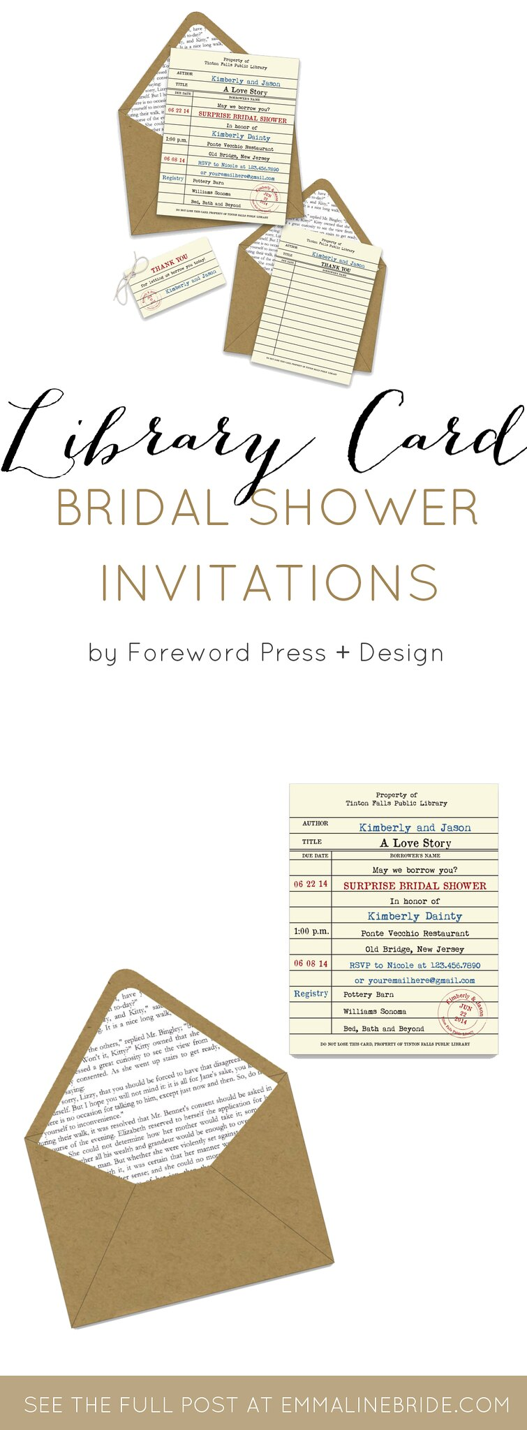 library card bridal shower invitations