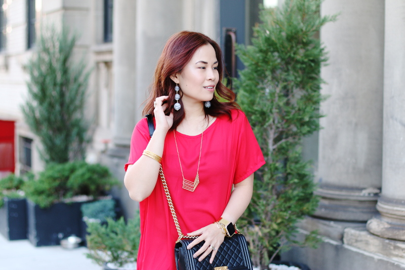romwe-red-dress-curly-hair-chanel-boy-bag-2