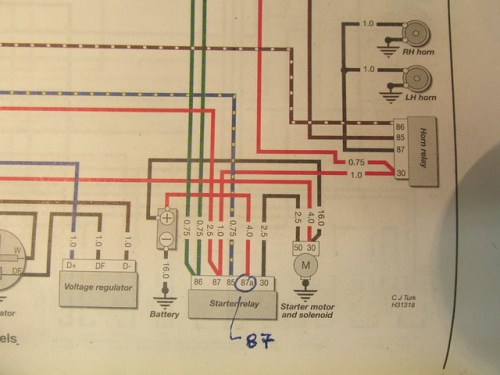 Starter and Horn Relay Pins Numbers Shown in Wiring Diagram