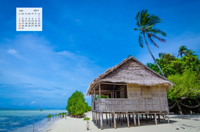July 2017 Calendar Desktop Wallpaper - Shack on Beach Raja Ampat