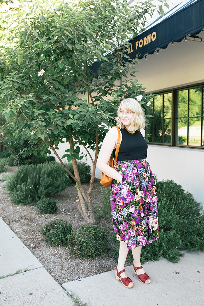 austin style blogger vintage floral midi skirt1