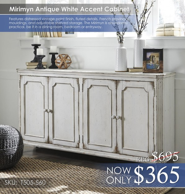 Mirimyn Antique White Accent Cabinet T505-560