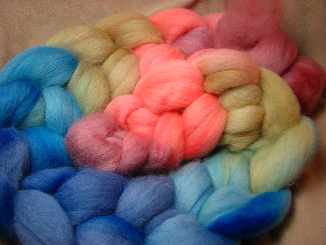 Seaside Sunrise - May 2017 Tiger Club - Shetland Wool Combed Top Roving