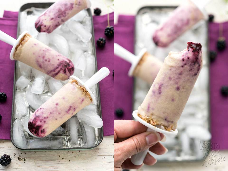 Allergy-friendly, low-fat, Blackberry Cheesecake Popsicles! Oh, and did I mention they're vegan and SUPER delicious? #veganyackattack #glutenfree #soyfree #nutfree #oilfree