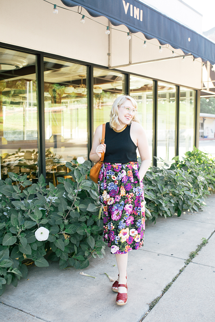 austin style blogger vintage floral midi skirt12