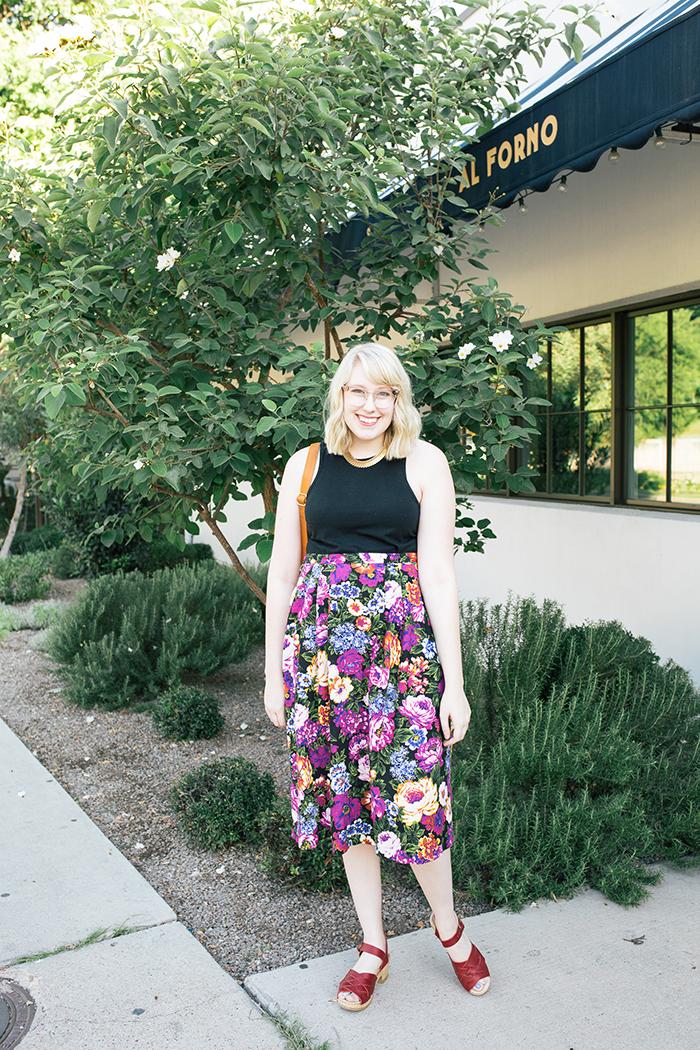 austin style blogger vintage floral midi skirt3