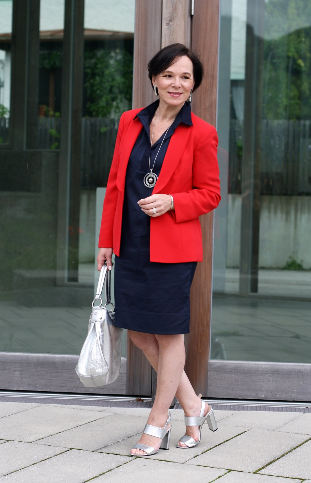 LadyofStyle Blue Shirtdress COS Red Blazer Madeleine Office Look