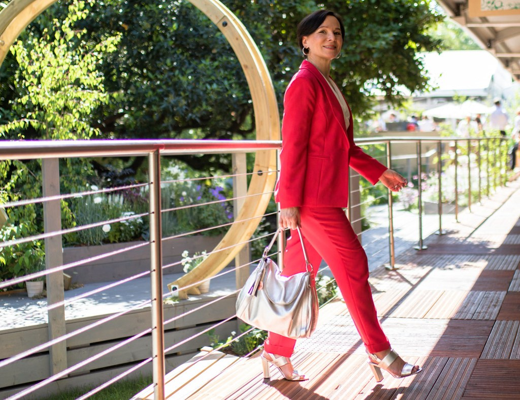 RHS Chelsea Flower Show London Madeleine Fashion Red Trouser Suit LadyofStyle 5